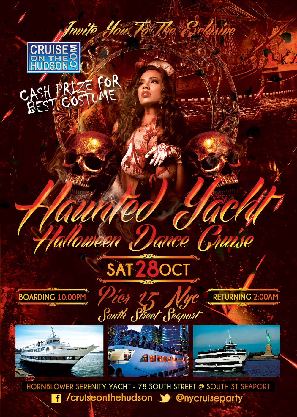 Haunted Yacht Halloween Dance Cruise NYC Hornblower Serenity Yacht